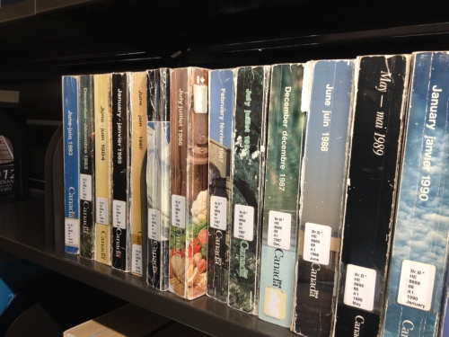 Issues of the Government of Canada Telephone Director Ottawa-Gatineau on the shelves at the Library of Parliament.