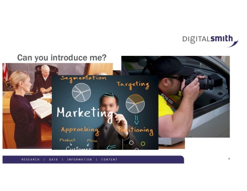 I would love introductions to marketing companies, lawyers (especially small firms and solos), private investigators and authors/publishers.