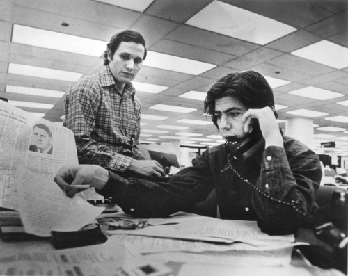 This is Woodward and Bernstein of Watergate fame. It's hard to find pictures of the fine reporters I worked with talking on the phone. Source: Bangor Daily News