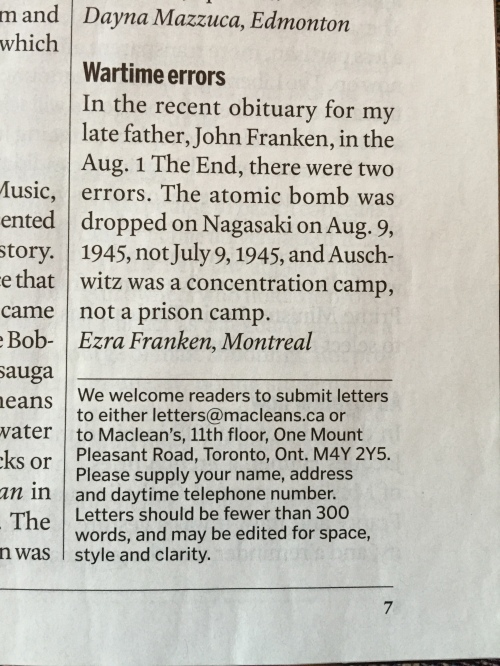 From the August 22, 2016 printed copy of Maclean's Magazine.