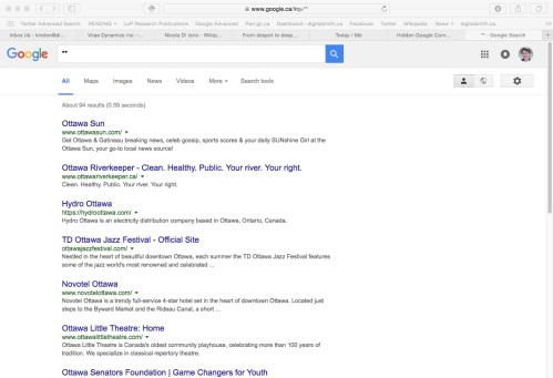 Here's what I found typing ** into the search bar.
